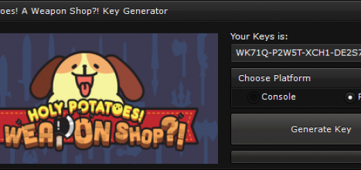"""Holy Potatoes! A Weapon Shop! Key When you'll open our generator you'll see 2 options """"Console"""" and """"PC"""" to ensure you that you get a good key, we suggest you to choose the platform, if you'll not select the platform, the generator will generate a random key."""