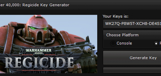 """Warhammer 40,000 Regicide Keygen When you'll open our generator you'll see 2 options """"Console"""" and """"PC"""" to ensure you that you get a good key, we suggest you to choose the platform, if you'll not select the platform, the generator will generate a random key."""