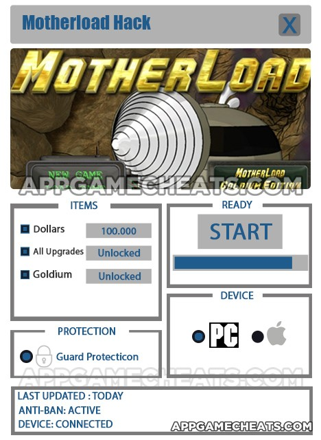 Motherload Hack for Dollars, All Upgrades, & Goldium Unlock
