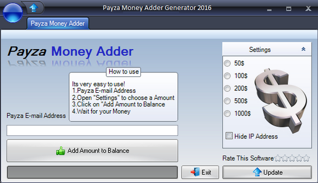 Payza Money Adder Generator