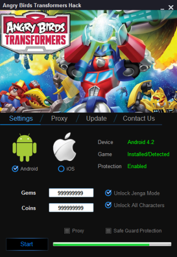 Angry Birds Transformers Unlimited Gems