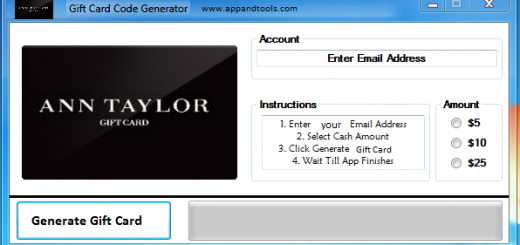 Ann Taylor Gift Card Generator We are offering Ann Taylor Gift Card Generator. In this post we are going to review you how to get the gift card for free, without paying anything. Why using your credit card and spending a lot of money if you don't need to do that? :) Here is this awesome tool, easy to use. Here is the best tool available on internet regarding this kind of store, Ann Taylor Gift Card Generator.