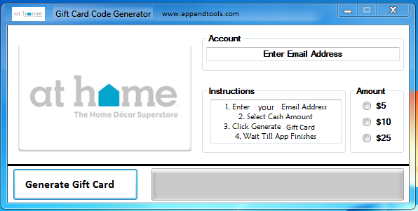 At Home Gift Card Generator