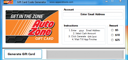 AutoZone Gift Card Generator We are offering AutoZone Gift Card Generator. In this post we are going to reviewyou how to get the gift cardfor free, without paying anything. Why using your credit card and spending a lot of money if you don't need to do that? :) Here isthis awesome tool, easy to use. Here is the best tool available on internet regarding this kind of store, AutoZoneGift Card Generator.