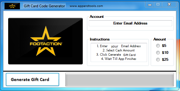 Footaction Gift Card Generator