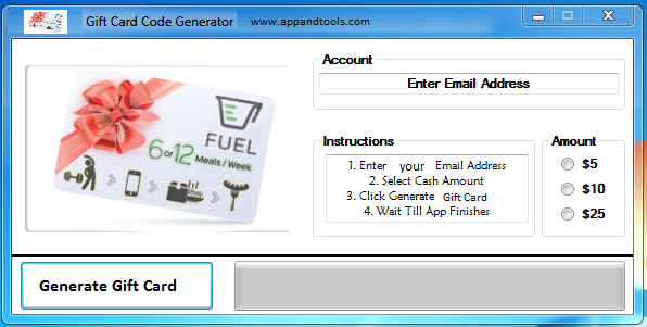 Fuel Gift Card Generator