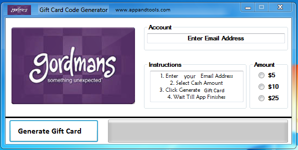 Gordmans Gift Card Generator