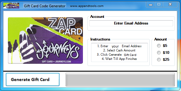 Journeys Gift Card Generator