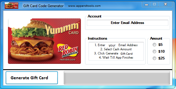 Red Robin Gift Card Generator
