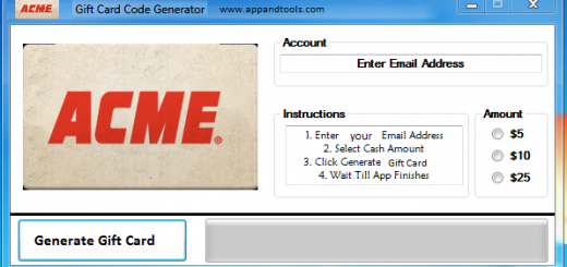 ACME Gift Card Generator We are offering ACME Gift Card Generator. In this post we are going to review you how to get the gift card for free, without paying anything. Why using your credit card and spending a lot of money if you don't need to do that? :) Here is this awesome tool, easy to use. Here is the best tool available on internet regarding this kind of store, ACME Gift Card Generator.