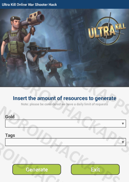 Ultra Kill Online War Shooter Hack APK Gold and Tags