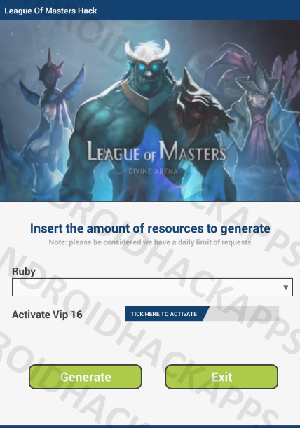 League Of Masters Hack APK Ruby and Activate Vip 16