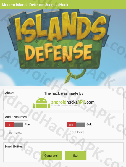 Modern Islands Defense Jungles Hack APK Fuel and Gold